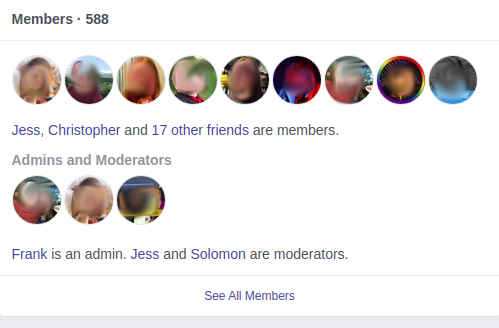 picture of people in a Facebook group, including administrators and moderators